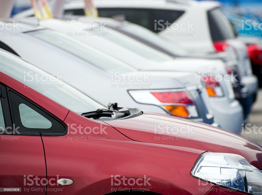 row of cars stock photo