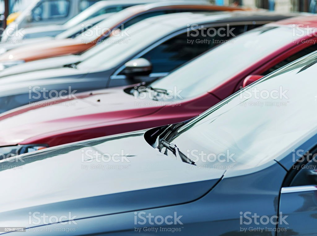 Row of cars stock photo