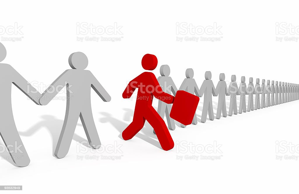 A row of cartoon men one in red leaving for a new business royalty-free stock photo