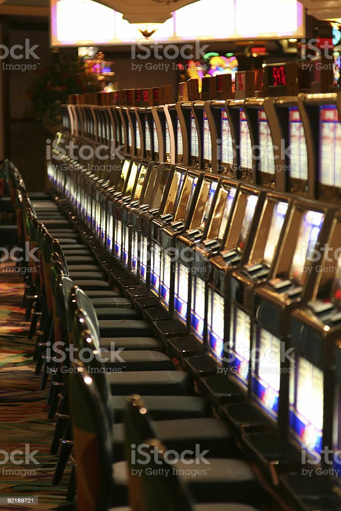 Row of casino slot machines not in use royalty-free stock photo