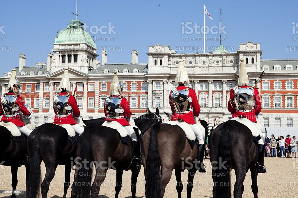 Row of cavalrymen at Horse Guards Parade royalty-free stock photo