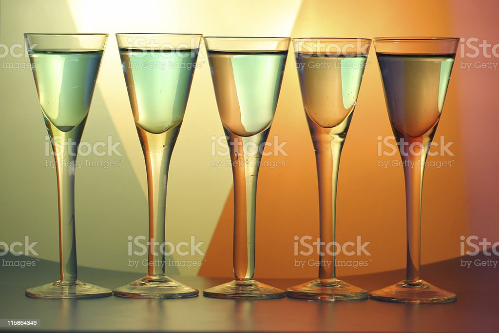 Row of Champagne royalty-free stock photo