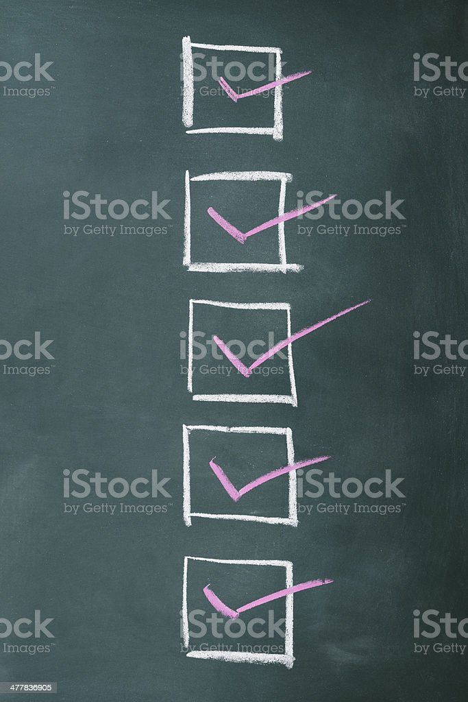 Row of check boxes on a blackboard with copy space.