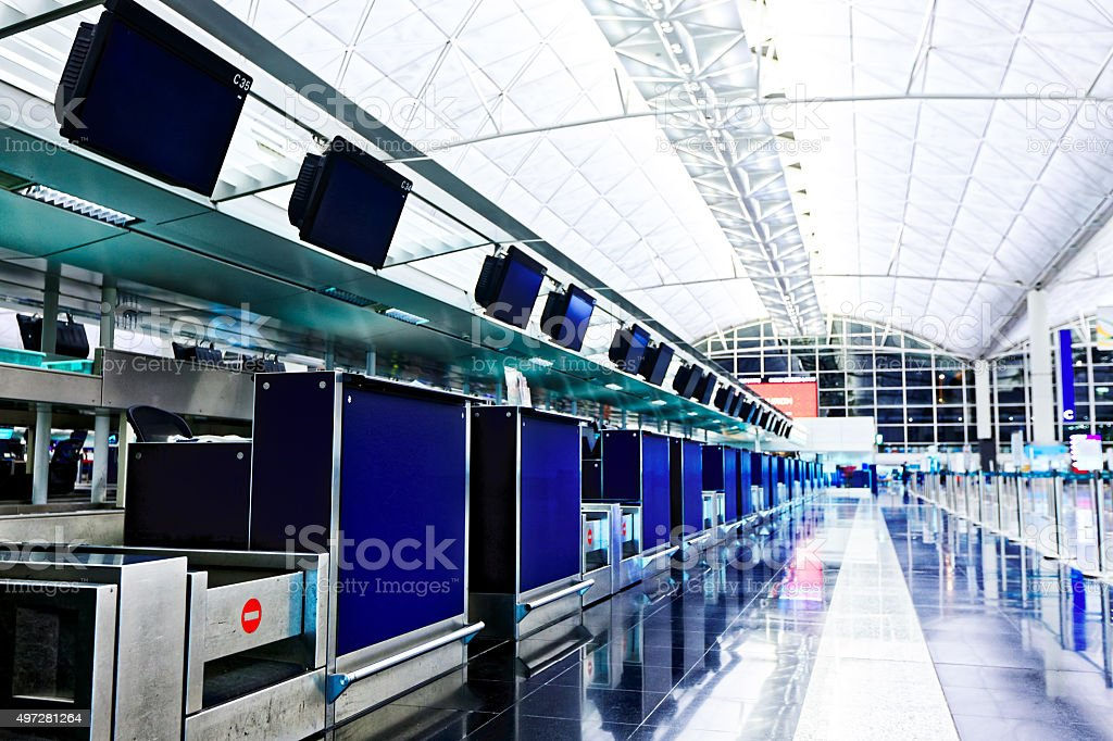 Row of check-in counters stock photo