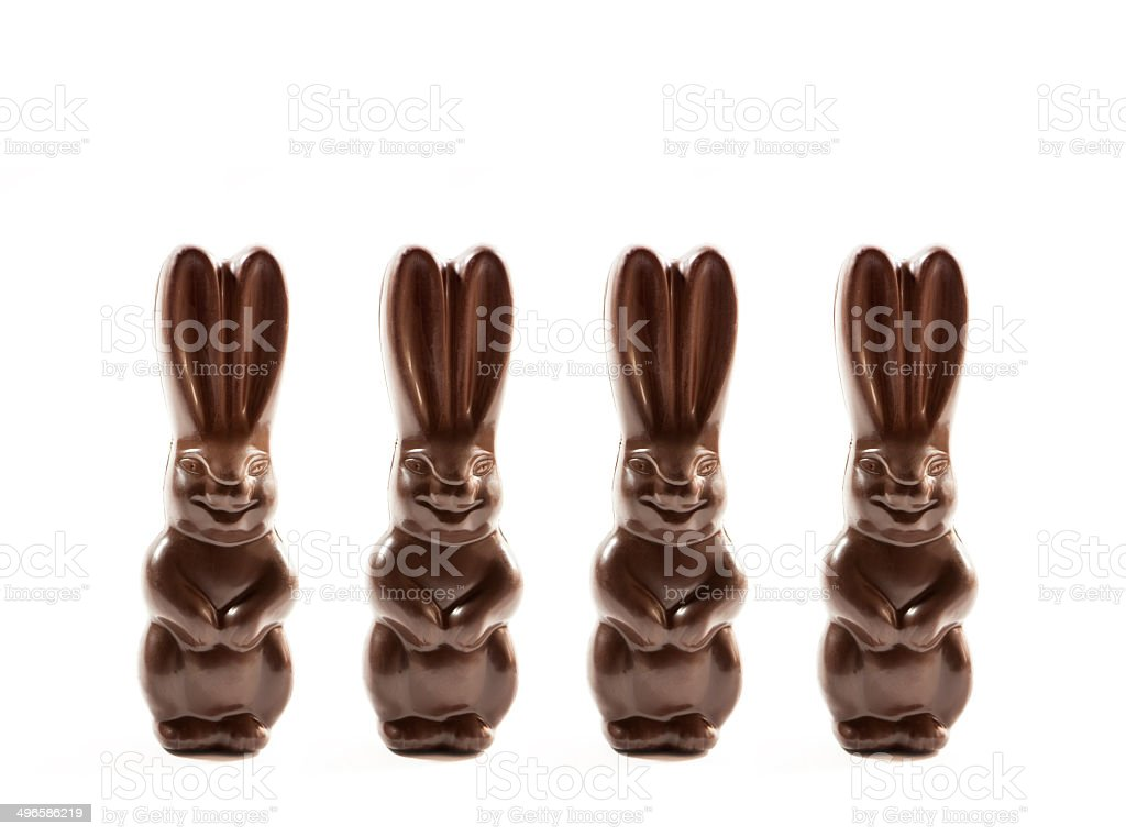 Row of chocoate Easter Bunnies stock photo