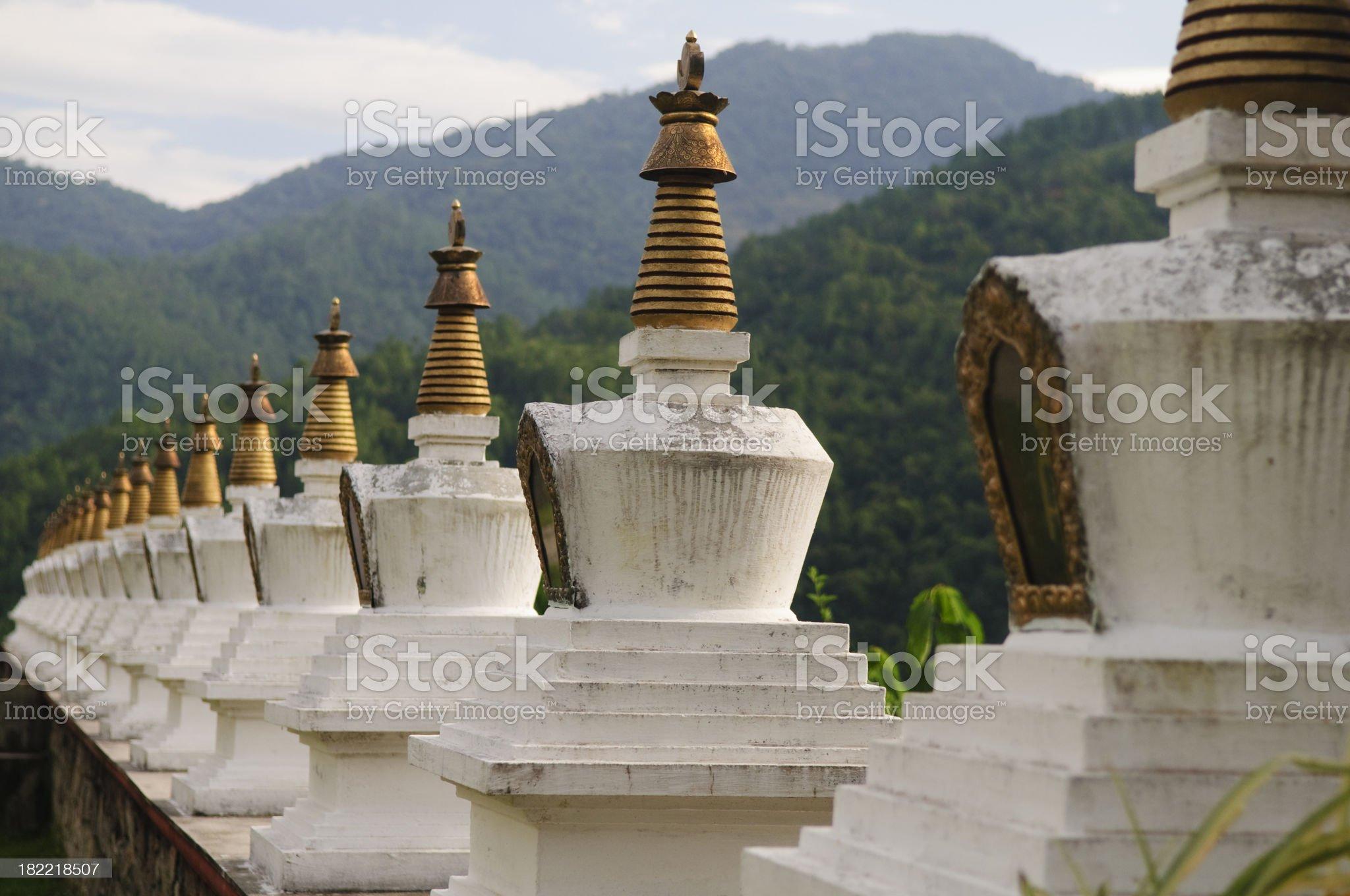 Row of Chortens (Stupas) - Bhutan Series royalty-free stock photo