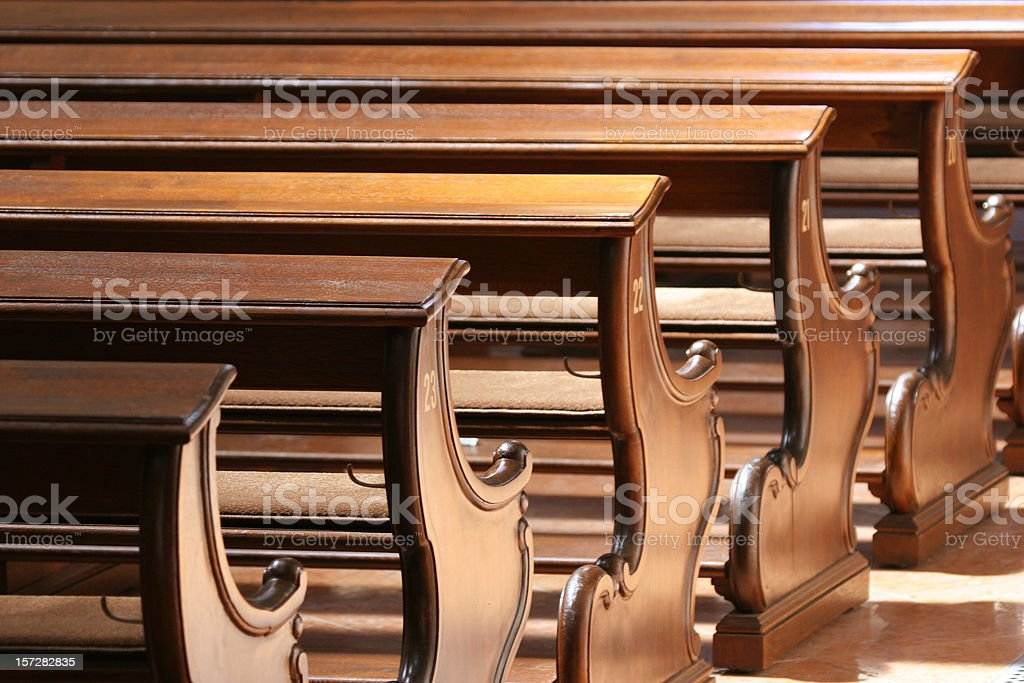 Row of church pews 02 / closer royalty-free stock photo
