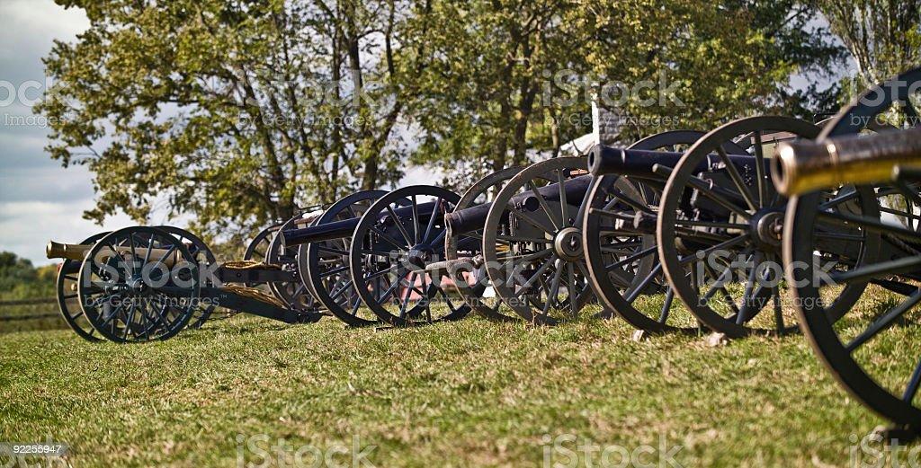 Row of Civil War Artillery Pieces stock photo