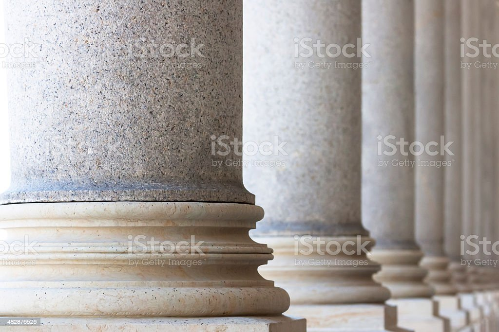Row of classical columns, copy space stock photo
