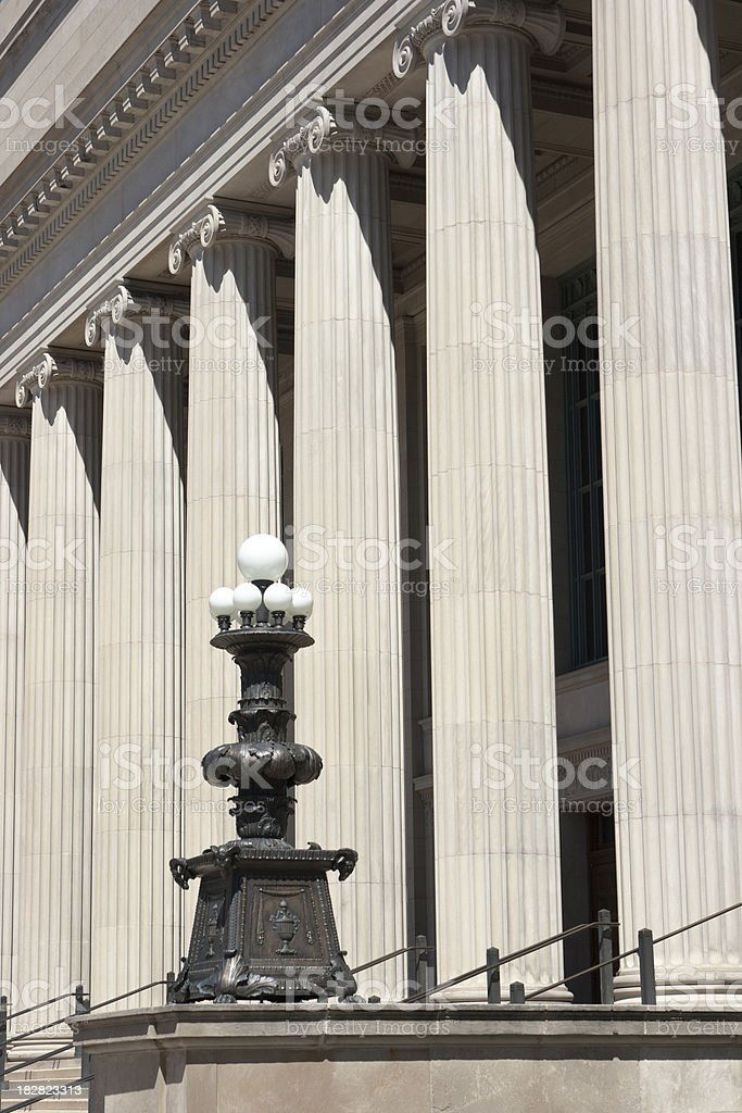 Row of Classical Fluted Ionic Columns, Academic Institution Building Architecture royalty-free stock photo