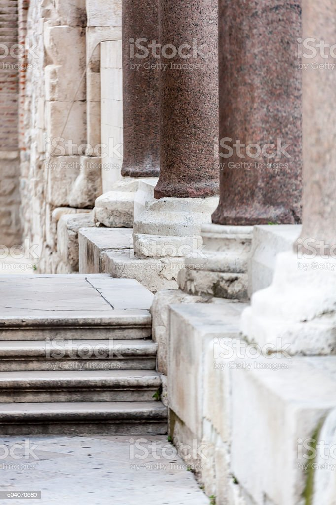 Row of collumns on Peristil, Roman  square  in Split, Croatia stock photo