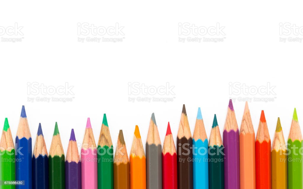 Row of color pencil on white background. stock photo