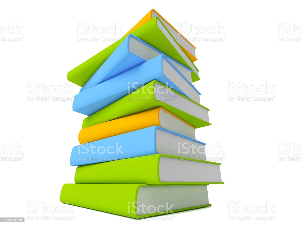 Row of colorful books isolated on white stock photo