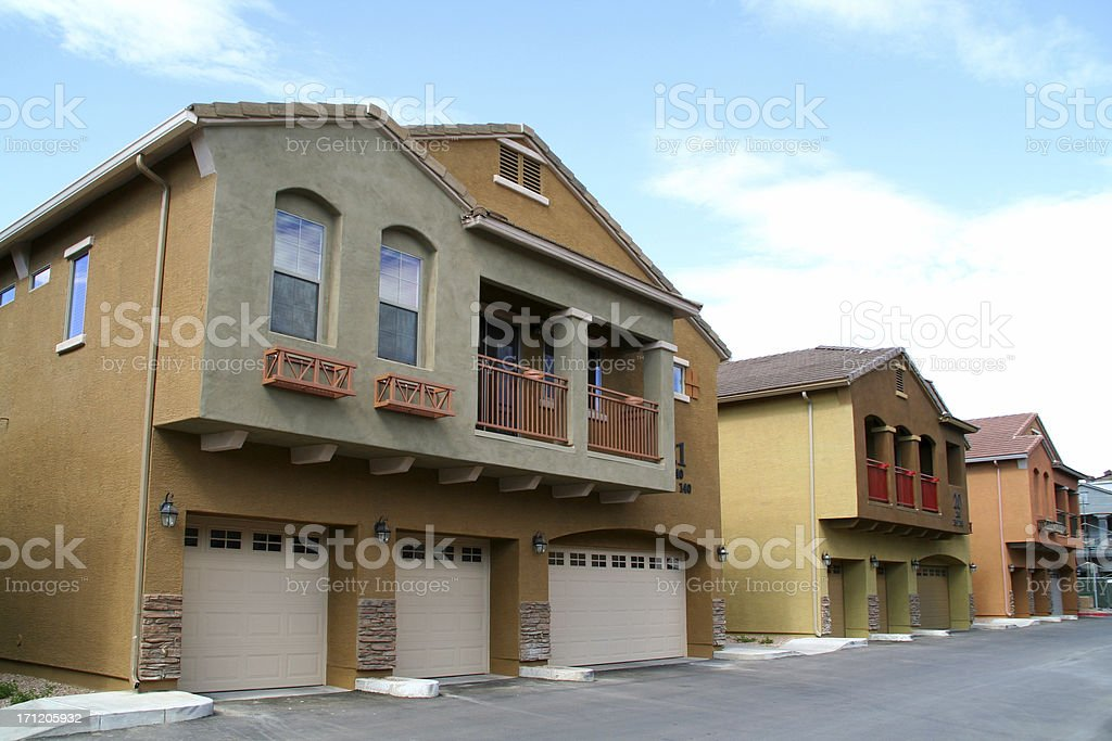Row of Colorful Condos / Apartments stock photo