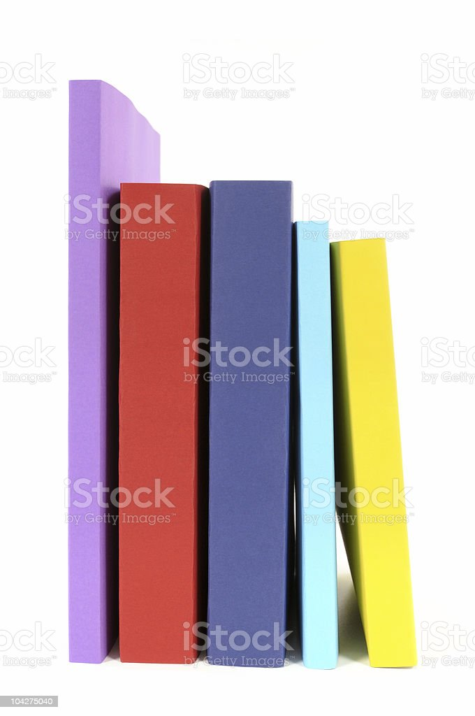 Row of colorful paperback books royalty-free stock photo