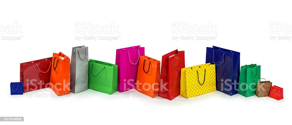 Row of colorful shopping bags stock photo