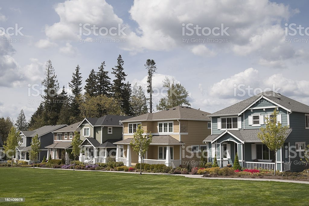 Row of colorful single family homes in suburb royalty-free stock photo