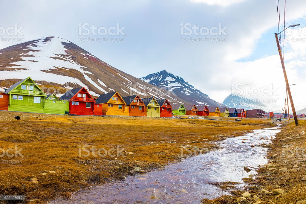 Row of colorful wooden houses at Longyearbyen in Svalbard stock photo