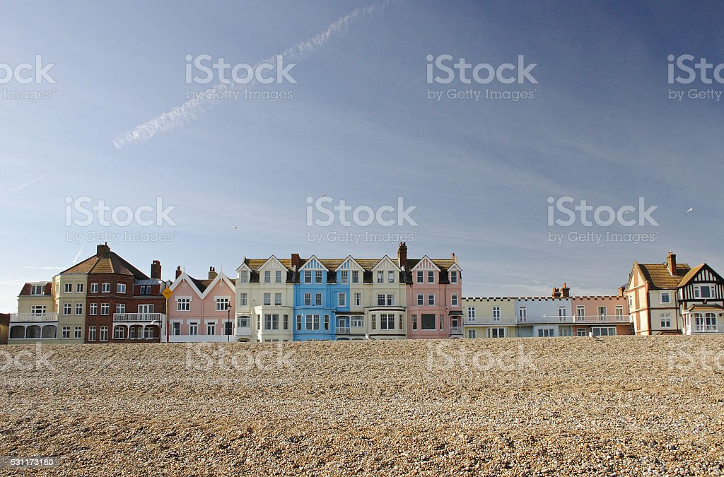 Row of coloured houses on Aldeburgh seafront, Suffolk, UK stock photo