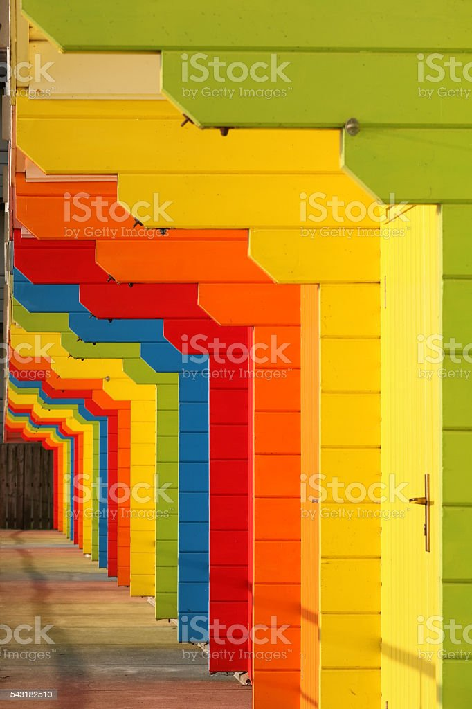 Row of Colourful Beach Huts in Scarborough, North Yorkshire, England stock photo