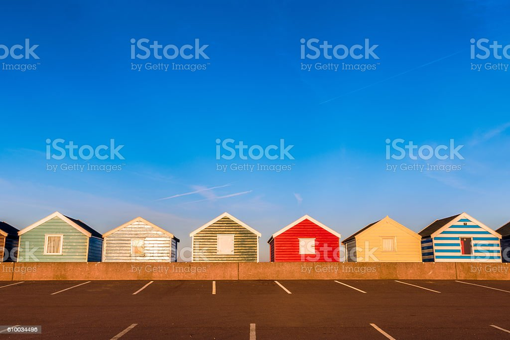 Row of Colourful Beach Huts stock photo