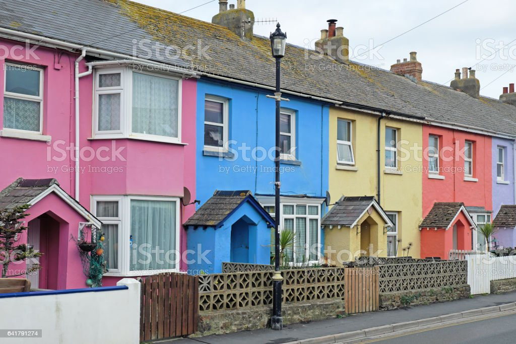 Row of colourful terraced houses in Devon UK stock photo