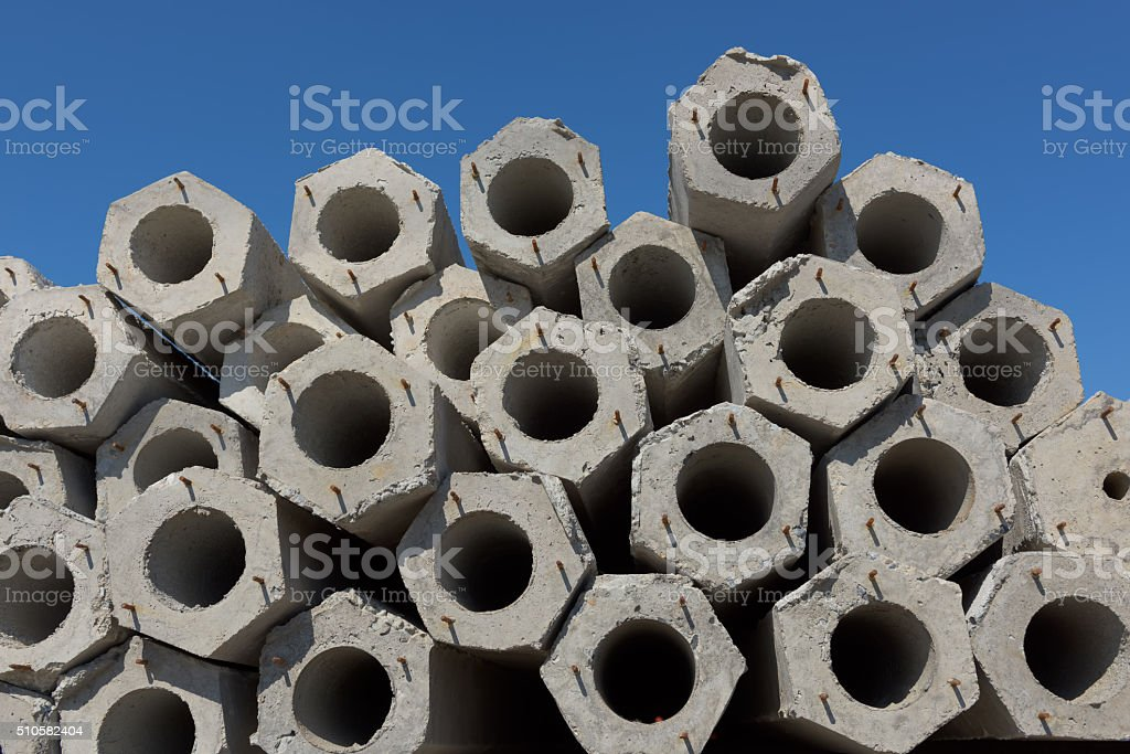 Row of concrete piles. stock photo