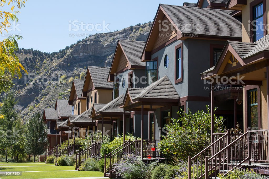 Row of condominiums in downtown Durango, Colorado stock photo