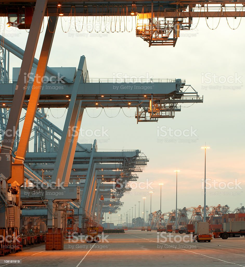 Row of Cranes in Harbor royalty-free stock photo