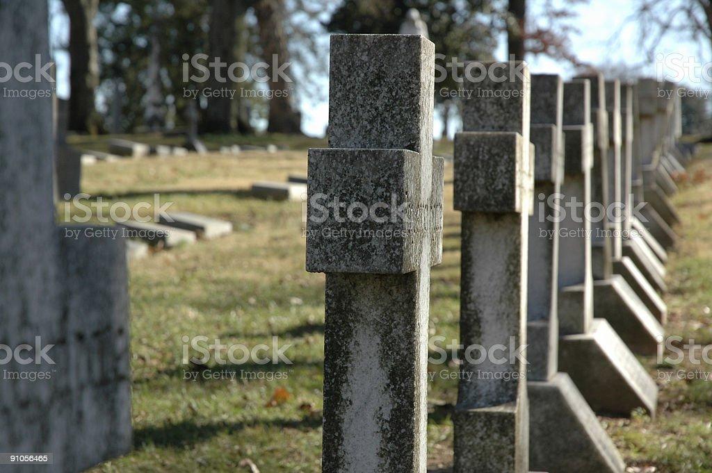 Row Of Crosses - Graveyard stock photo