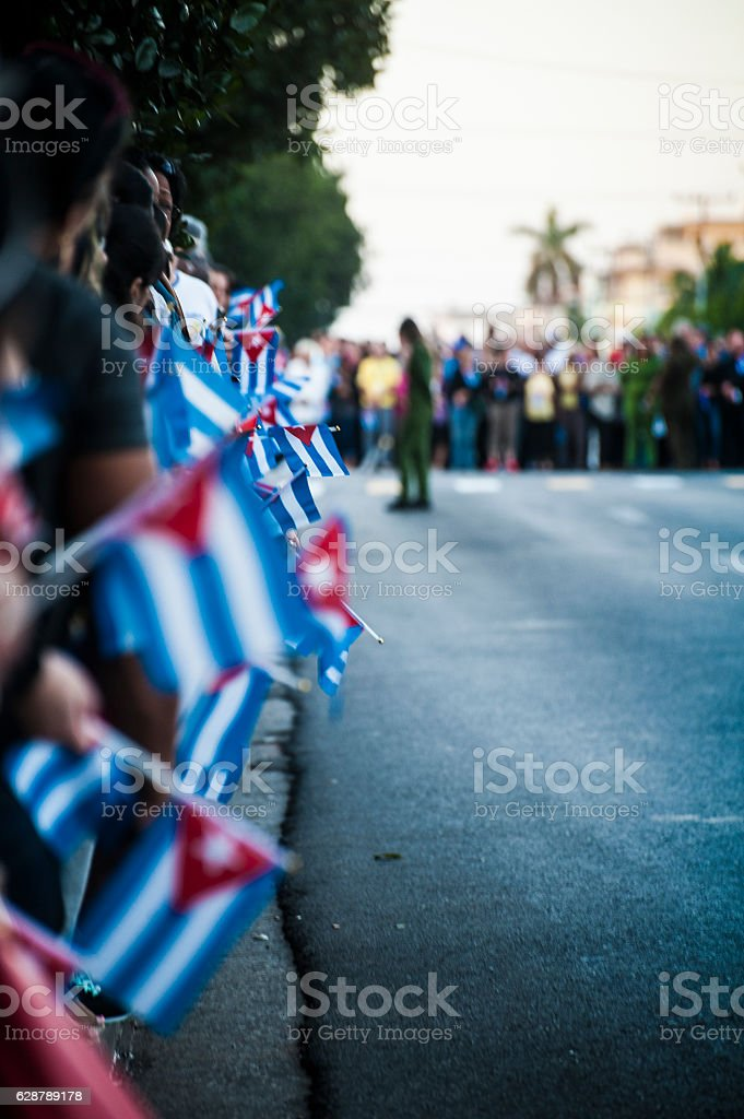 Row of Cuban Flags at Fidel Castro Memorial stock photo