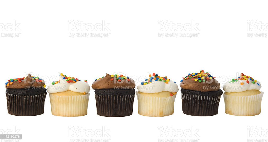 Row of Cupcake Pastry Frame Border Isolated in White Background royalty-free stock photo