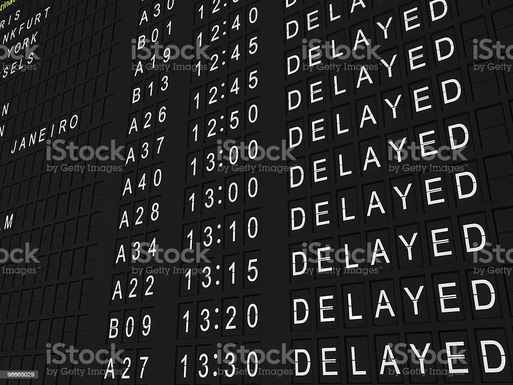 Row of delayed flights in white stock photo