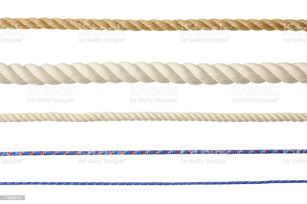 Row of different type of ropes isolated on white background stock photo