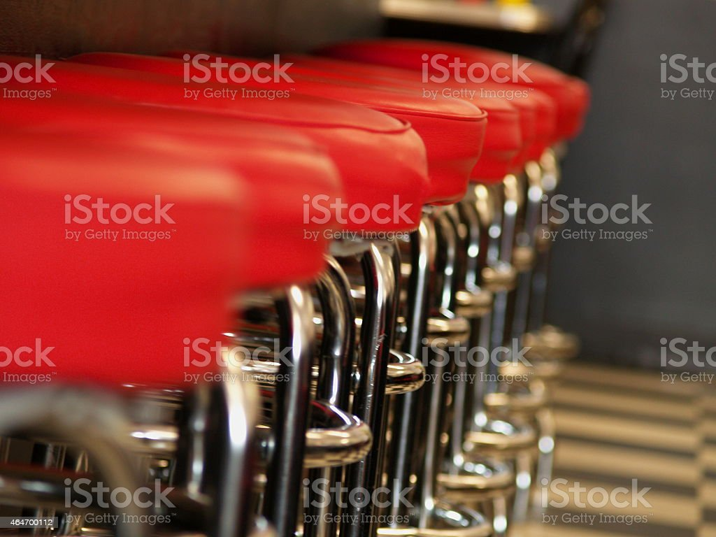 Row of Diner Stools stock photo