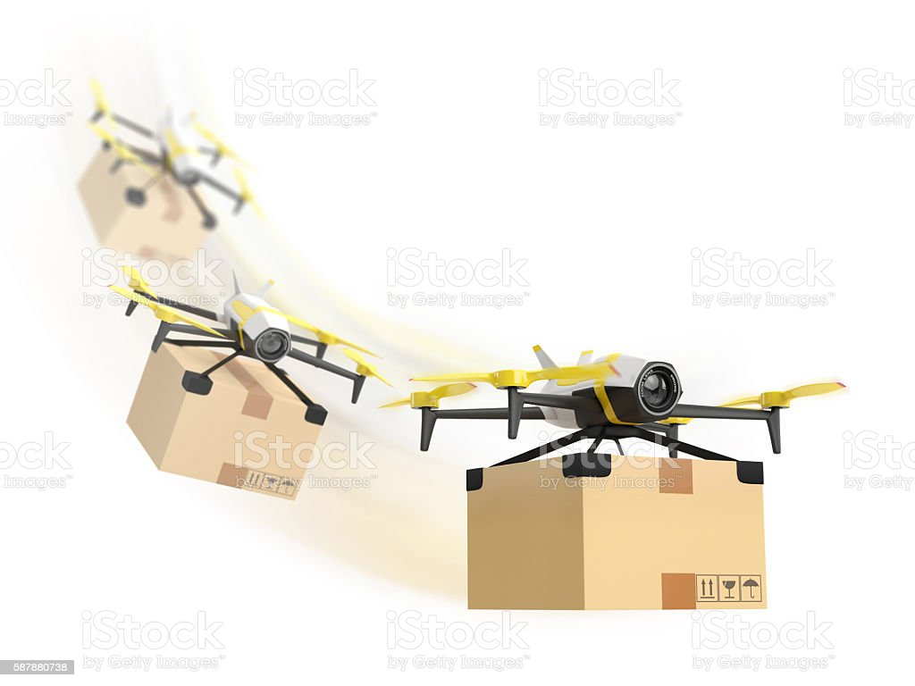 Row of drones delivery with a package stock photo