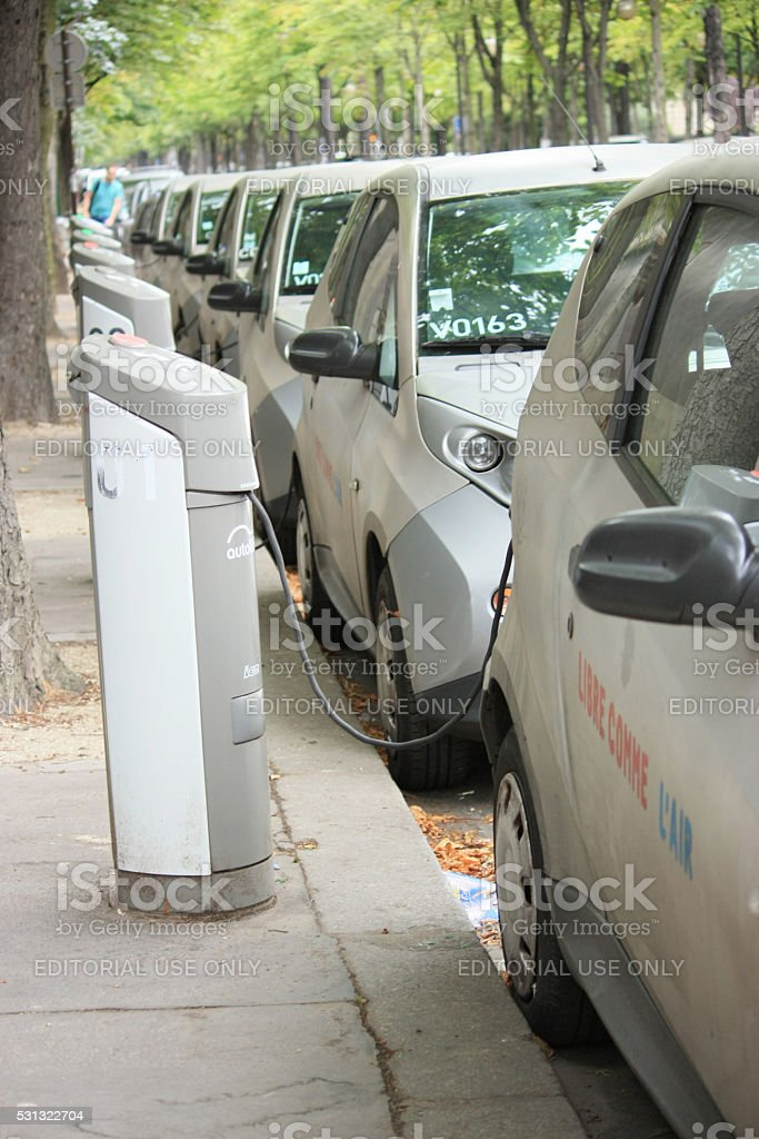 Row of electrically operated cars stock photo