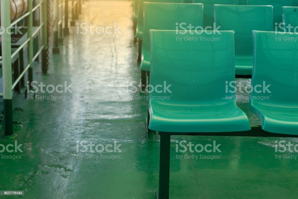 Row of empty chairs. stock photo