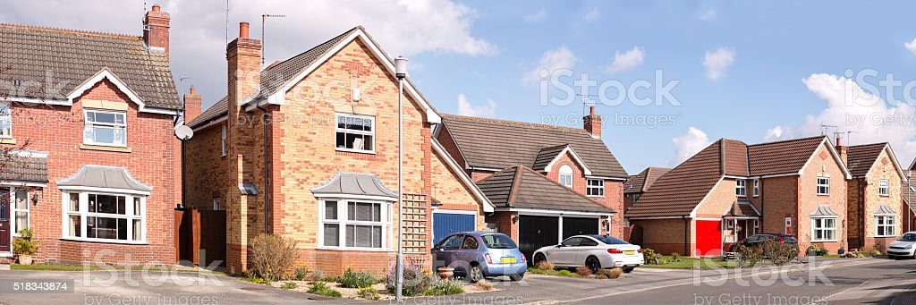 Row of English suburban houses. stock photo