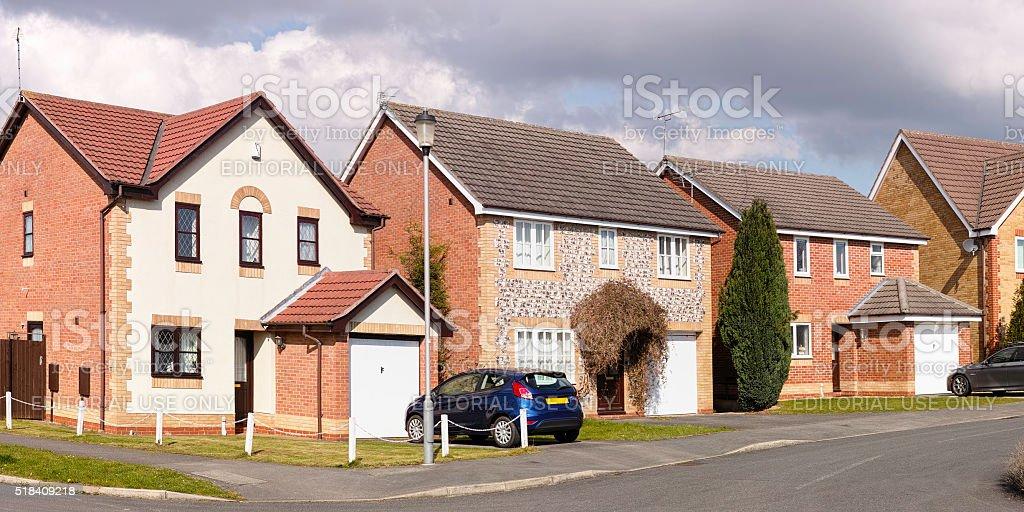 Row of English suburban houses. stock photo
