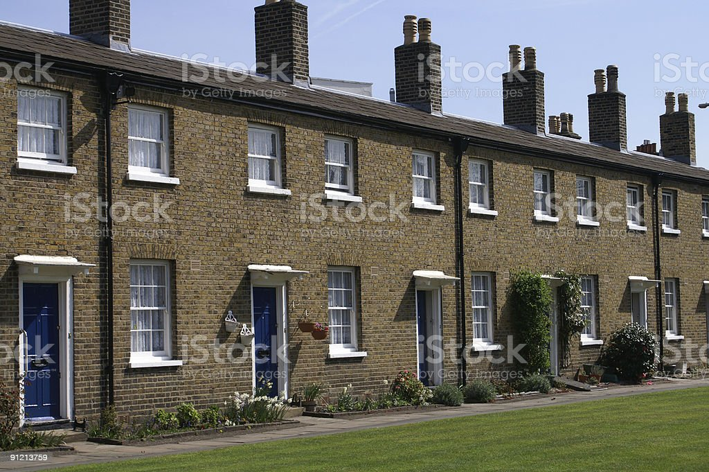 Row of English terraced cottages, Greenwich, London, England royalty-free stock photo