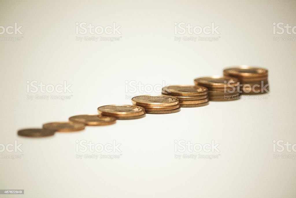 row of eurocents stock photo