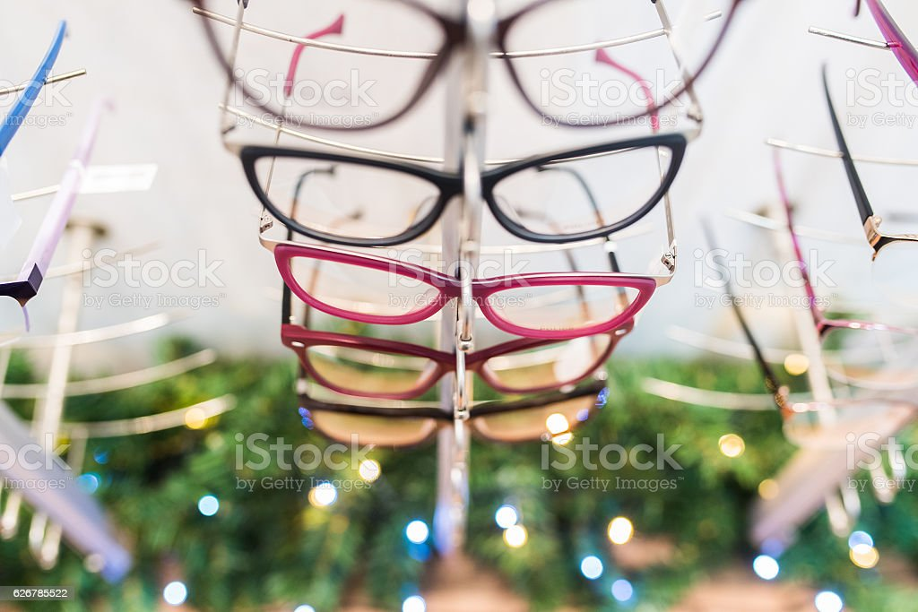 Row of eyeglass at an opticians stock photo