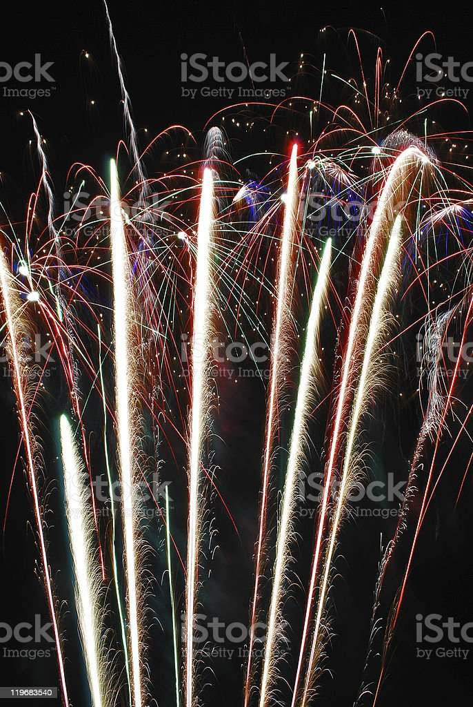 Row of fireworks stock photo