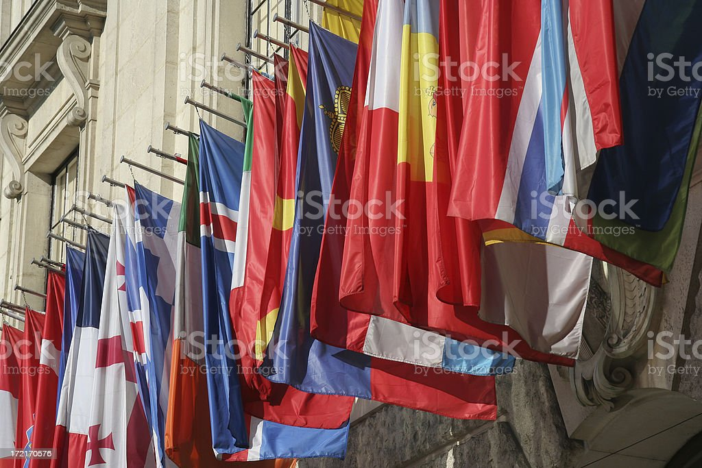 Row of Flags stock photo