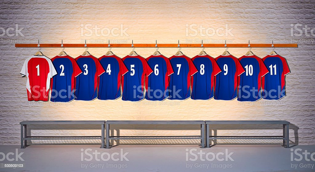 Row of Football Shirts Blue-Red 1-11 stock photo