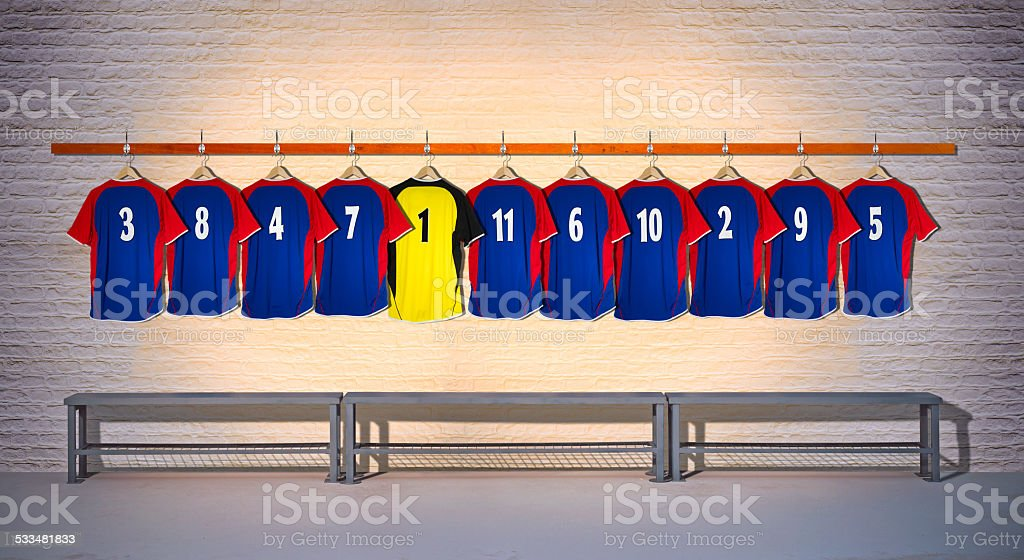 Row of Football Shirts Blue-Yellow 3-5 stock photo