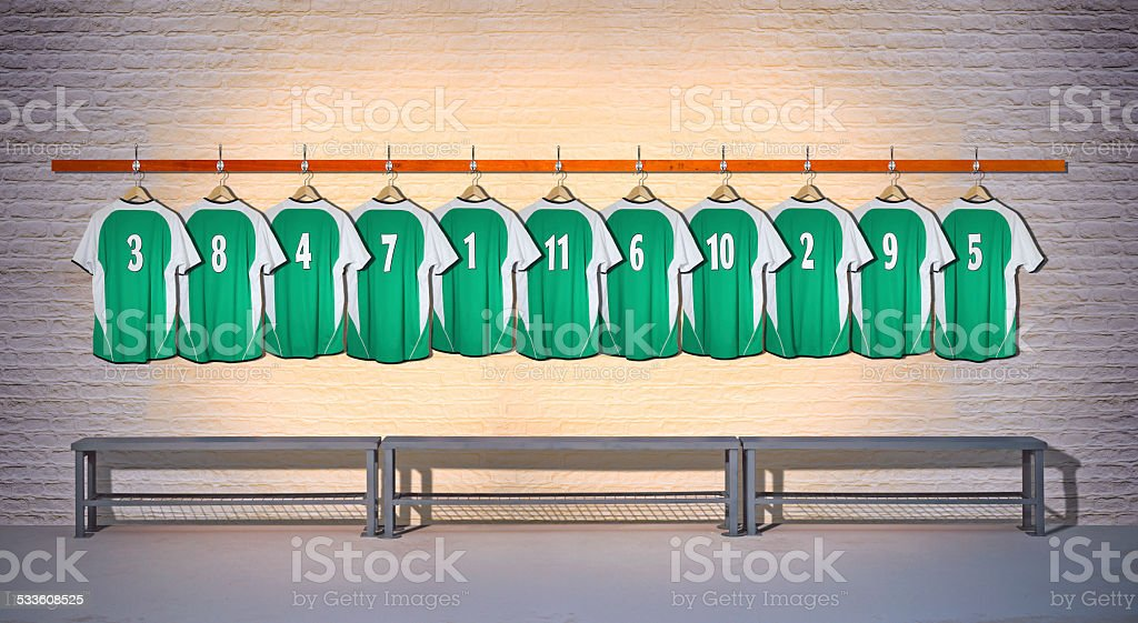 Row of Football Shirts Green 3-5 stock photo