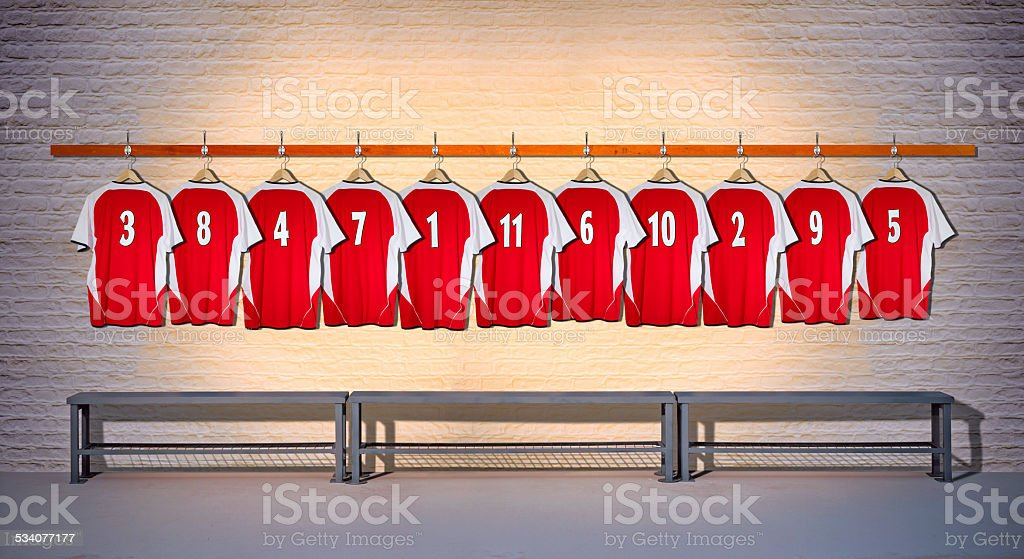 Row of Football Shirts Red 3-5 stock photo