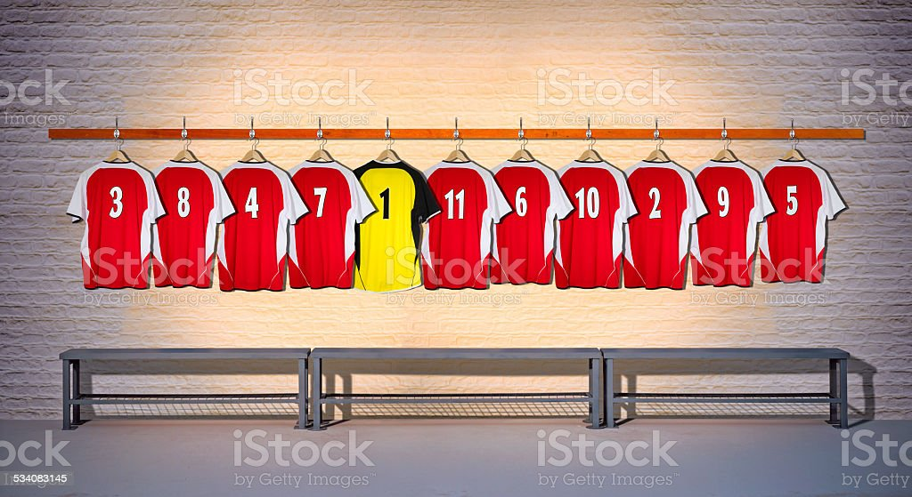 Row of Football Shirts Red-Yellow 3-5 stock photo
